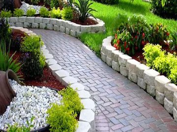 Brick Pathway w/ Raised Lanscaping | Tulsa OK